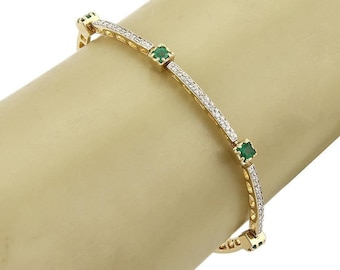 15686 - Estate 1.06 Diamonds & Emerald Curved Link Bracelet in 14k Yellow Gold