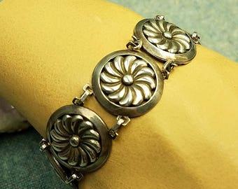 Art Deco Sterling Silver Panel Bracelet Wide Pinwheel Floral Round Links