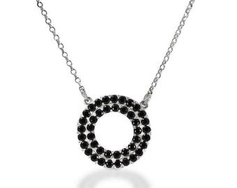 Open circle pendant necklace, 14K White Gold, two circles of black diamonds, Including Chain, eternity necklace, birthday present