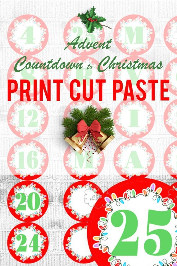 Printable Countdown Christmas - Advent Calendar - red