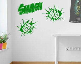 Smash Two Fists Wall Stickers Decals Kids Decor Window Fun Vinyl Colourful A157