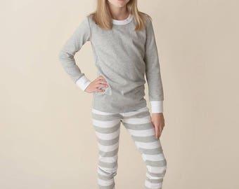 Personalized Christmas Pajama's - Grey/White Stripe