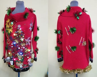 Bedazzled Glam Red Tacky Ugly Christmas Sweater Beaded Trees, Light Up Sweater , Womens Sz S OS Sweater mini Dress,  Lighted. Festive