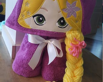 Rapunzel Inspired Hooded Bath, Pool or Beach Towel