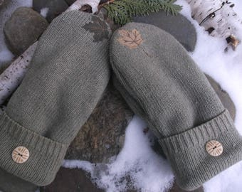 Sweater Mittens, made from upcycled recycled sweaters and upcycled, green with enbroidered leaves, fleece lined