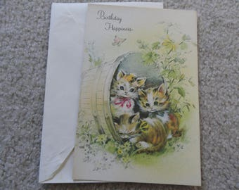 Birthday Happiness vintage unused greeting card - Free shipping