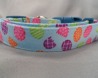 Easter Dog Collar, Colorful Easter Eggs on Blue