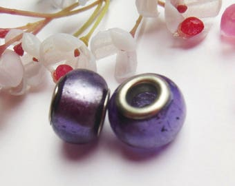 set of 2 Purple lampwork glass beads