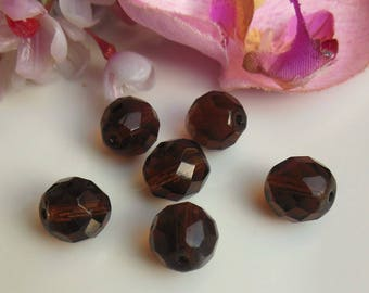 set of 6 beads fonce10mm Brown Czech glass faceted
