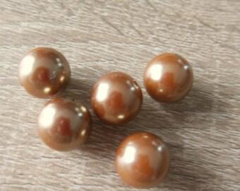 5 round plastic Brown beads