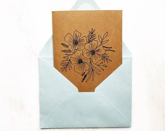 Hand illustrated floral card