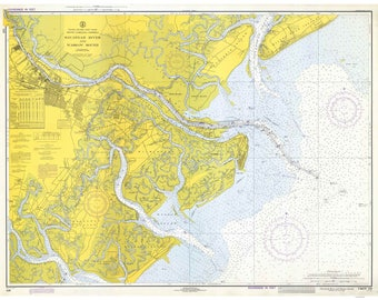 Savannah River and Wassaw Sound 1973-Old Map Nautical Chart-South Carolina Georgia-Reprint-Wilmington & Moon Rivers, Savannah AC Harbors 440