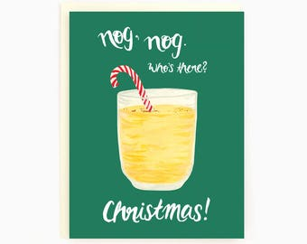 Holiday Drink Recipe Card - Eggnog - Nog Nog, Who's there? Christmas! / HLY-DRINK-EGGNOG