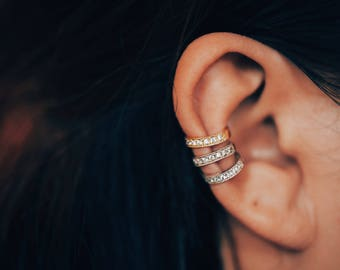 Pave Ear Cuff Sterling Silver