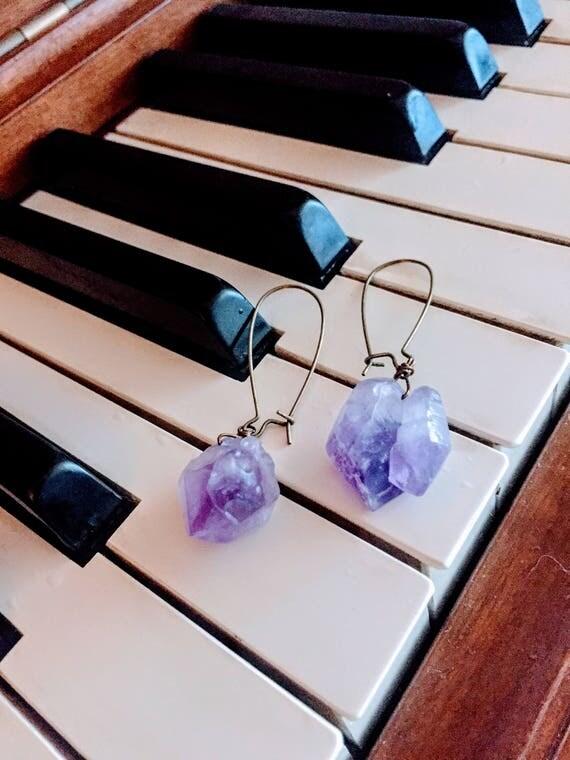 Raw Amethyst, Bohemian Ear Jewelry, Gemstone Amethyst, Amethyst Ear Jewelry, Boho Stone Earring, Boho Large Earring, Amethyst