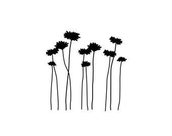 wall decals FLOWERS walltattoo vinyl wall decal sticker stickers furniture room decoration fern meadow