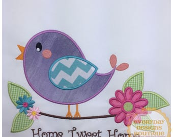 Home Tweet Home Machine Embroidery Applique Design Large Hoop Only