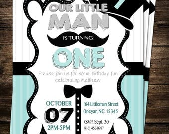 Mustache Little Man First Birthday Party Digital Invite