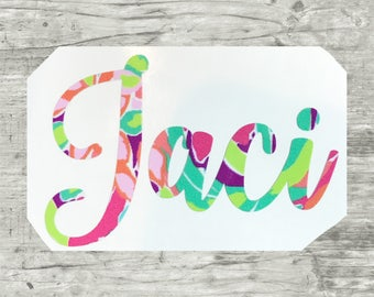 Name Decal, Lilly Pulitzer Decal, Lilly Sticker, Lilly Decal, Monogram Decal, Agenda Decal, Planner Stickets