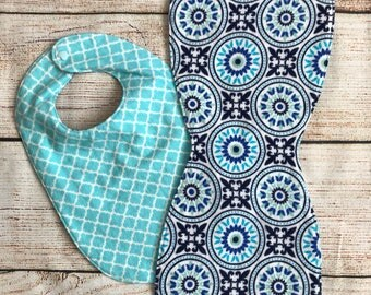 Matching Blue Bib and Burp Cloth set