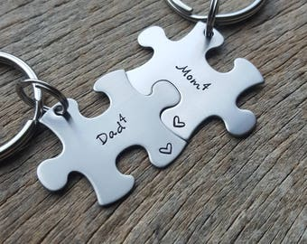 Customizable Mom and Dad Puzzle Piece Key chain Set - Hand Stamped Stainless Steel Couples set/ Best Friends/Parents/ Mother/Father gift