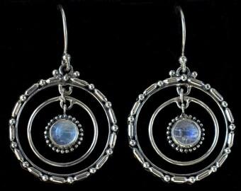 Silver Moonstone Hoop Earrings: ETERNITY