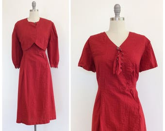40s Red Cotton Day Dress & Jacket Set / 1940s Vintage Dress / Large / Size 14