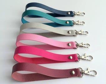 wrist strap leather wristlet strap for clutch, purse, wallet, key chain, removable leather wrist strap / black