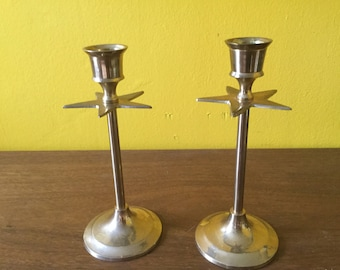 Pair of Vintage Star Brass Candle Sticks
