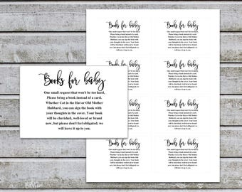 Baby Shower Bring a Book Instead of a Card Book Request Baby Library Printable Baby Shower Invitation Insert Card (v32t) Instant Download