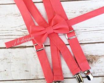 Coral bow tie and suspender set - David's Bridal coral Bow Tie and Suspender Set davids bridal coral bow tie and suspenders