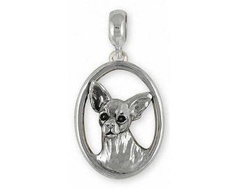 Chihuahua Charm Slide Jewelry Sterling Silver Handmade Dog Charm Slide CH19-PNS