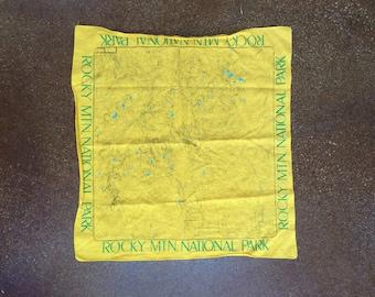 Vintage Rocky Mountain National Park Cloth Bandana Map 1980's