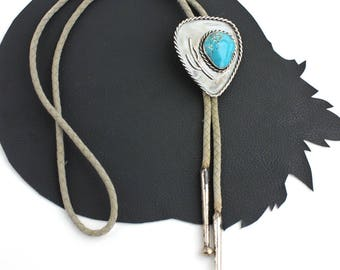 Southwestern Cactus Silver & Turquoise Western Bolo Tie
