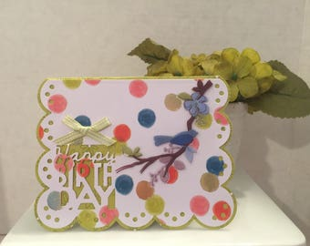 Happy Birthday Bird and Dot Card with Gift Card or Money Holder HB50