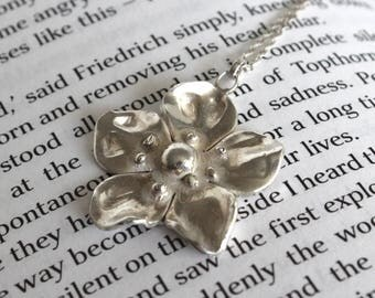 Silver Poppy Necklace//solid silver flower pendant