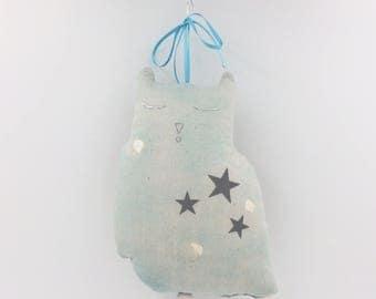 Mobile Musical Hibou Nani Iro Bleu Délavé - Argent - Boite à musique - Une étoile dans ma cabane