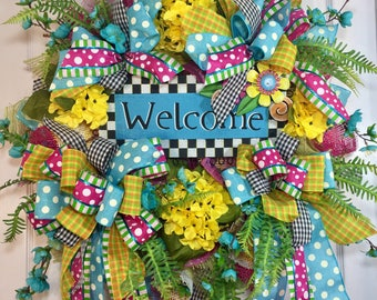 Bright and Whimsical Blue and Pink Mesh Door Wreath