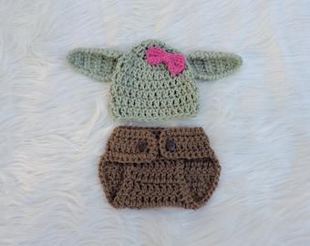 Crochet Girl Yoda Inspired Outfit Baby Girl Yoda Costume Newborn Girl Yoda Photo Outfit Baby Girl Yoda Photo Prop Girls Yoda Hat Baby Shower