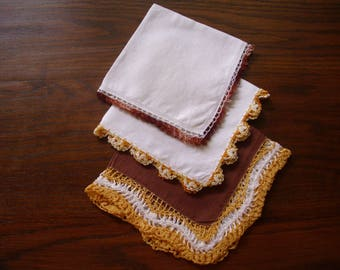 Vintage White Linen Handkerchiefs, Lace Handkerchief, Gold Handkerchief, Tatted Handkerchief, Handkerchief Crochet, Gold Hanky Lot