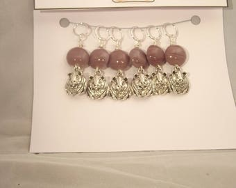 HAMSTERS!  Ooak lavender stitch markers for knitting