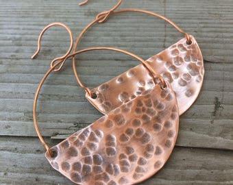 Repurposed Copper Half Moon Earrings