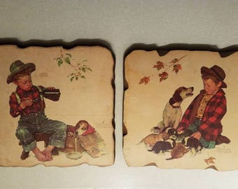 Set of 2 RARE Vintage Norman Rockwell Wood Boy With Dog Prints