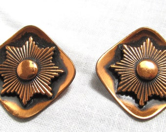 Vintage Southwest Style Copper Earrings 1950s Clip On