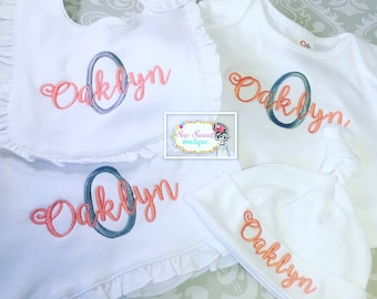 Personalized bib, burp cloth, blanket, baby shower gift, baby girl gift