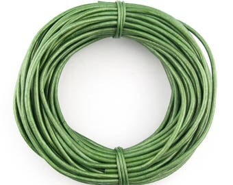 Green Metallic Round Leather Cord 1mm, 100 meters (109 yards)