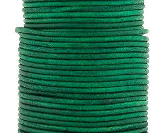 Xsotica® Sea Green Natural Dye Round Leather Cord 2mm - 10 Feet