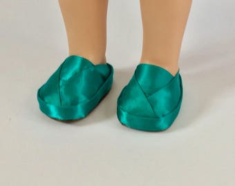 Wellie Wisher doll shoes. Dark teal doll shoes. 14inch doll accessories. Handmade satin doll shoes. Girls gift.