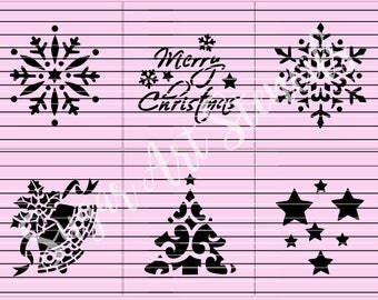Merry Christmas cookie stencils set of 6  SL20167