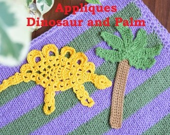 Crochet appliques Dinosaur and Palm Animal Sewing accessory craft Crochet Handmade Applique embellishment baptism favors baby kids clothes